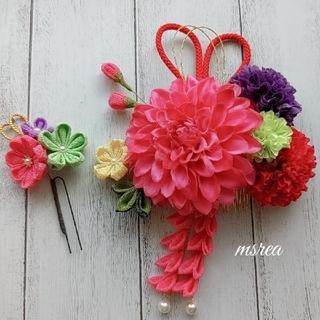 成人式 つまみ細工 髪飾り ローズピンク