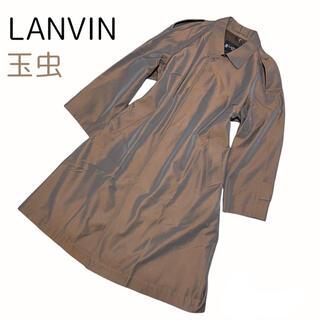 ランバン(LANVIN)の美品 OLD ランバン ステンカラー比翼コート ウール 玉虫色 エポレット付(ステンカラーコート)