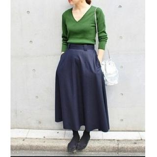 イエナ(IENA)の新品タグつき IENA 圧縮ウール フレア スカート 38サイズ  紺色(ロングスカート)