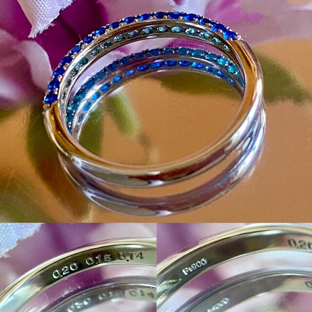 希少✨ネオンカラー✨アウイナイトパライバトルマリンダイヤモンドエタニティーリング レディースのアクセサリー(リング(指輪))の商品写真