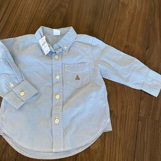 ベビーギャップ(babyGAP)のタグ付◆80サイズ baby GAP くまさんワンポイント付き長袖シャツ(シャツ/カットソー)