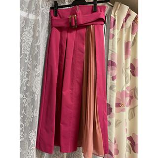 マーキュリーデュオ(MERCURYDUO)のプリーツ切替ラップ風スカート(ひざ丈スカート)