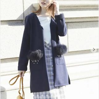 tocco - 【新品】トッコ クローゼット華感をプラスするビジュー刺繍ポケファーコーディガン紺