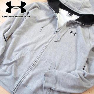 アンダーアーマー(UNDER ARMOUR)の超美品 M アンダーアーマー メンズ ビッグロゴ パーカージャケット グレー(パーカー)