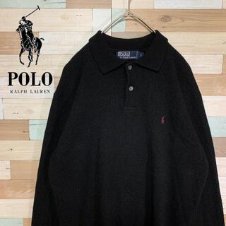 ポロラルフローレン(POLO RALPH LAUREN)のポロラルフローレン ニットポロシャツ ラムウール 黒 刺繍ワンポイント L(ニット/セーター)