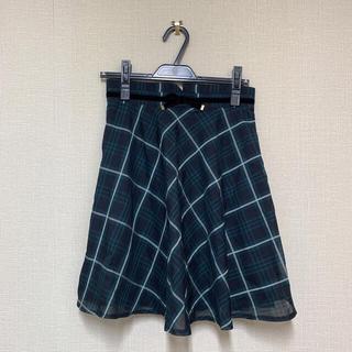 ミッシュマッシュ(MISCH MASCH)のmishmash チェックスカート ベロアリボン (ひざ丈スカート)
