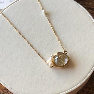 agete - 美品 ビジュソフィア K10 ルチルクォーツ パール ダイヤモンド ネックレス