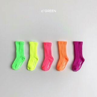 【人気!在庫1点!早い者勝ち】新品 韓国子供服 d'green ネオンソックス