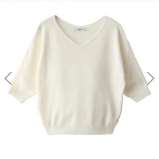 グレイル(GRL)のGRL 5分袖ニット 紺色(ニット/セーター)