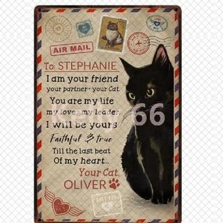 猫 ブリキ看板 / 黒猫 ウエルカムボード CFLLyo(ウェルカムボード)