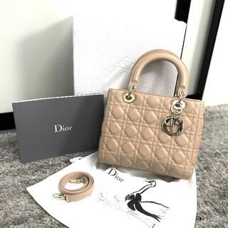 クリスチャンディオール(Christian Dior)の美品 クリスチャンディオール レディディオール ミディアム ベージュ(ハンドバッグ)