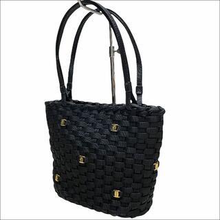 Salvatore Ferragamo - J5093 美品 サルヴァトーレフェラガモ ヴァラ 編み込み ハンドバッグ 黒