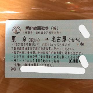 新幹線回数券 東京(都区内)⇔ 名古屋(市内) 乗車券 指定席特急券 1枚d(鉄道乗車券)