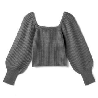 グレイル(GRL)のボリュームスリーブリブショートニットトップス[yz613] GRL(ニット/セーター)