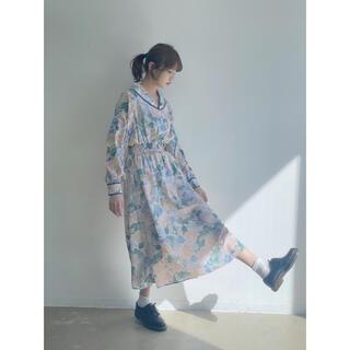 ロキエ(Lochie)の【美品】花柄 水彩画 ロングワンピース(ロングワンピース/マキシワンピース)