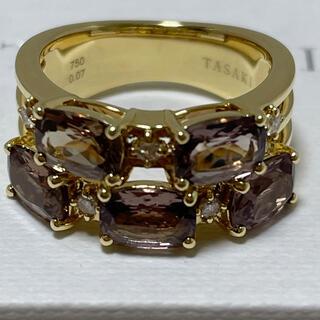 タサキ(TASAKI)のタサキ YGK18  ダイヤ×ガーネットリング 美品(リング(指輪))
