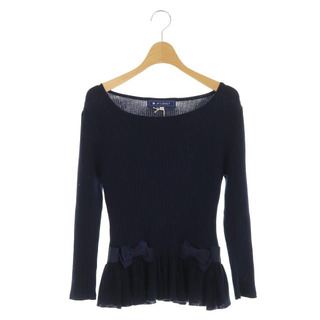 エムズグレイシー(M'S GRACY)のエムズグレイシー ニット セーター 長袖 リボン 38 紺 ネイビー(ニット/セーター)