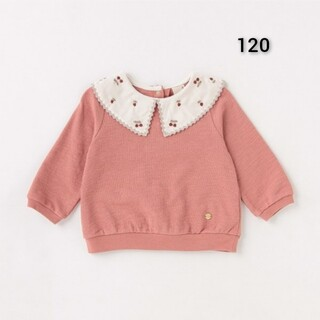 petit main - 新品 petit main 衿チェリー 刺しゅう 長袖 プルオーバー120