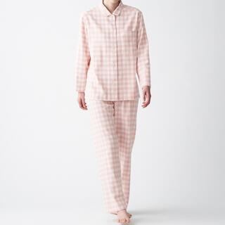 MUJI (無印良品) - 新商品❤️無印良品・脇に縫い目のないフランネルパジャマS~M・ピンク×チェック