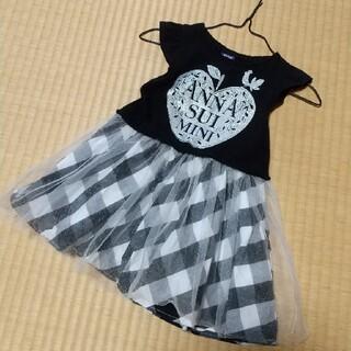 アナスイミニ(ANNA SUI mini)のアナスイミニ りんご ワンピース 人気 黒 チュールアップル  90cm(ワンピース)