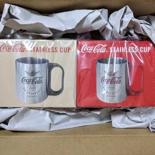 コカコーラ(コカ・コーラ)のコカコーラ ステンレス カップ 2個セット レッド グリーン 新品未使用(グラス/カップ)