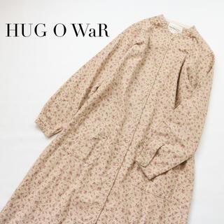ハグオーワー(Hug O War)のハグオーワー✨小花柄 ネルシャツワンピ バンドカラー 長袖 マキシ丈(ロングワンピース/マキシワンピース)