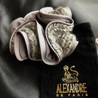 Alexandre de Paris - アレクサンドルドゥパリ 秋♡シルバーグレーのニットとサテンのシュシュ ヘアゴム