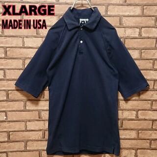 エクストララージ(XLARGE)のXLARGE エクストララージ USA製 5分丈 ネイビー メンズ ポロシャツ(ポロシャツ)