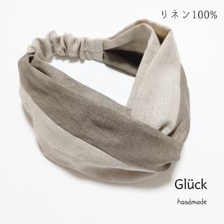 ハンドメイド r570 リネン切替クロスヘアターバン  カーキ×生成(ヘアアクセサリー)