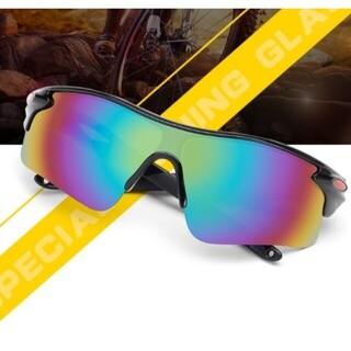 ライディングメガネUV400 紫外線カット 超軽量 耐衝撃 サングラス黒(サングラス/メガネ)