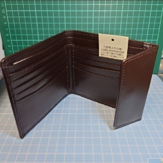 MUJI (無印良品) - 【新品】牛革・二つ折り財布(ホックロック付き・ブラウン)