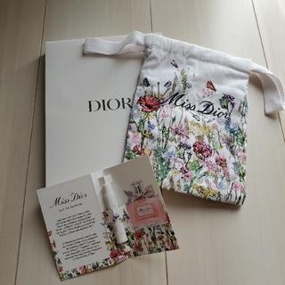 クリスチャンディオール(Christian Dior)のディオール ノベルティ コットンポーチ 巾着(白) (ポーチ)