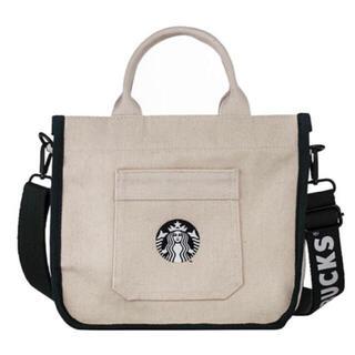 スターバックスコーヒー(Starbucks Coffee)の台湾 スターバックス 2way トートバッグ 白×グリーン ハンドバッグ(トートバッグ)