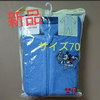 ユニクロ(UNIQLO)の新品ストレッチマイクロフリースオールインワン 70ユニクロ ベビー服  (パジャマ)