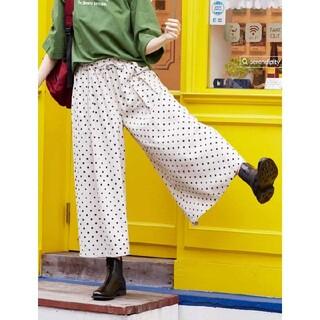 フェリシモ(FELISSIMO)のリブ イン コンフォート リネン混ワイドパンツ LP〈キナリ×ドット〉(カジュアルパンツ)