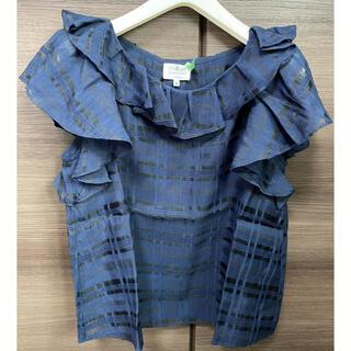 ランバンオンブルー(LANVIN en Bleu)のランバンオンブルー トップス ギンガムチェック Tシャツ 38サイズ(Tシャツ(半袖/袖なし))
