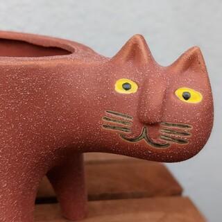 ブサイク猫 プランター 赤茶色 陶器 底穴あり 新品(プランター)