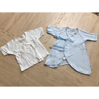 コンビミニ(Combi mini)の【美品】combi mini短肌着、長肌着2点 50-60cm 男の子(肌着/下着)