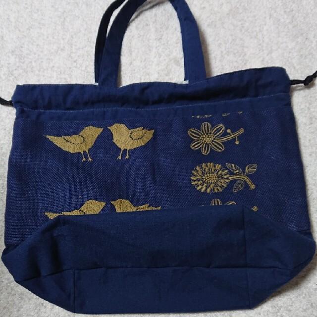 mina perhonen(ミナペルホネン)のミナペルホネン tori-to-hanaA4サイズ巾着バッグ ハンドメイド ハンドメイドのファッション小物(バッグ)の商品写真