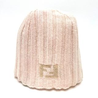 フェンディ(FENDI)のフェンディ FF ニット帽 帽子 ピンク系(ニット帽/ビーニー)