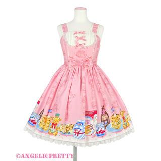 アンジェリックプリティー(Angelic Pretty)のHoney Cake 切替ジャンパースカート ピンク(ひざ丈ワンピース)