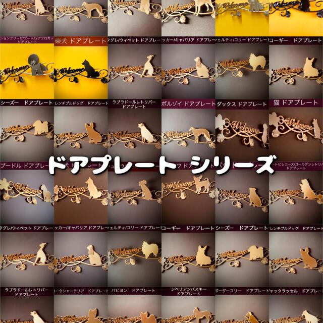 コーギー ドアプレート小 アンティークゴールド色 インテリア/住まい/日用品のインテリア小物(ウェルカムボード)の商品写真
