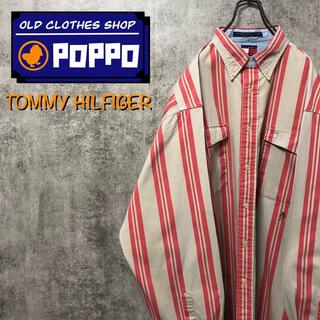 TOMMY HILFIGER - トミーヒルフィガー☆オールド刺繍ロゴダブルポケットストライプシャツ 90s