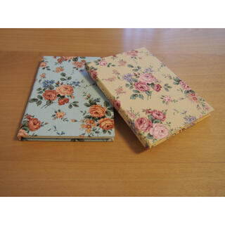 ハンドメイド ノート 2冊セット 布の装丁 日本製 バラ 薔薇 姫系