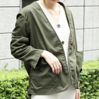 coen - 試着のみ★コーエン チノライクノーカラージャケット M カーキ ミリタリー