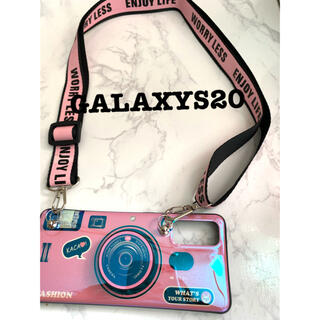GALAXYS20カメラ型ピンクショルダーストラップギャラクシースマホケース