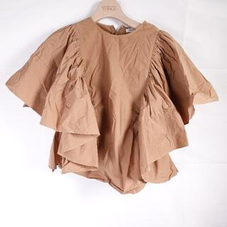 フレイアイディー(FRAY I.D)のFRAY I.D 裾フリルカットソー レディース ブラウン(カットソー(半袖/袖なし))