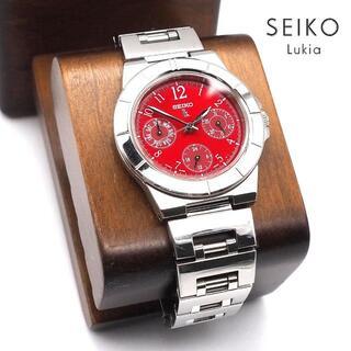 グランドセイコー(Grand Seiko)の《美品》SEIKO lukia 腕時計 レッド トリプルカレンダー クォーツ(腕時計)