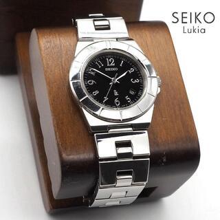 グランドセイコー(Grand Seiko)の《美品》SEIKO lukia 腕時計 ブラック クォーツ 10気圧防水 デイト(腕時計)