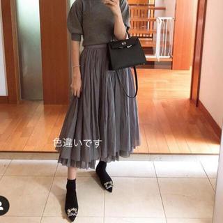 ドゥロワー(Drawer)の試着のみ☆2019AW ドゥロワー シルクコットン ギャザースカート36ネイビー(ロングスカート)